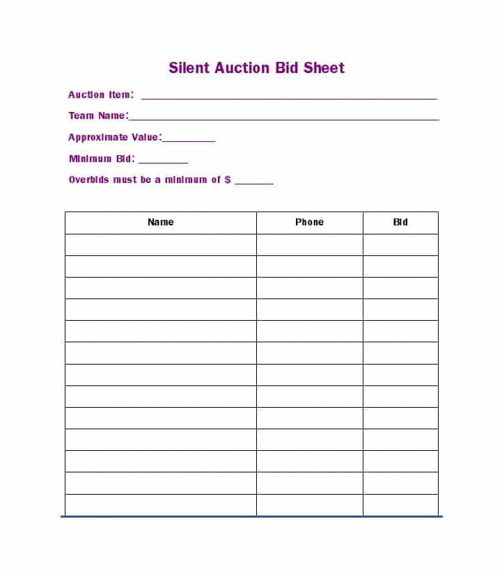 Free Silent Auction Bid Sheet Templates-Word,Excel – Template Section