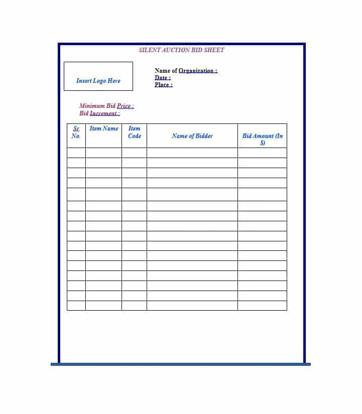 Free Silent Auction Bid Sheet Templates-Word,Excel - Template Section