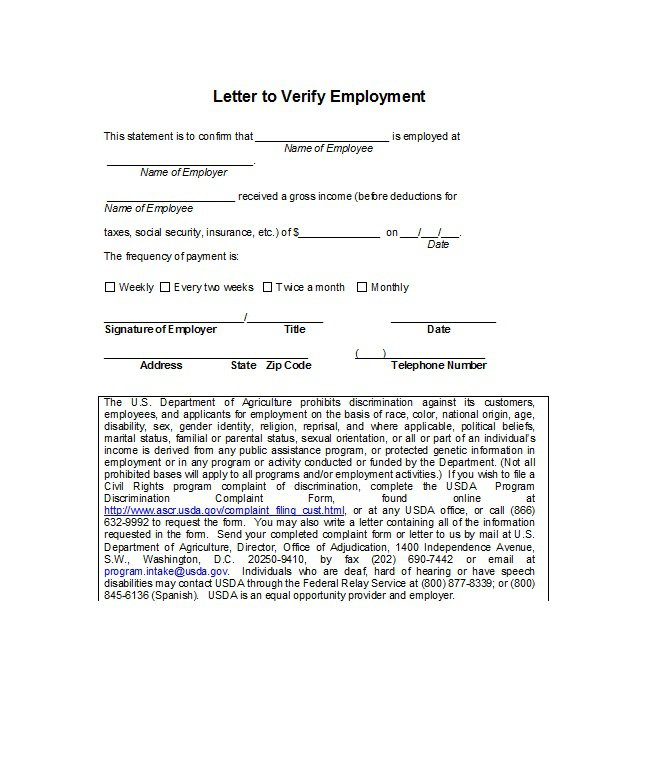 Free Proof Of Employment Letter Verification Forms TemplatesWord