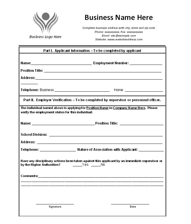 Download Template  Free Employment Verification Form Template