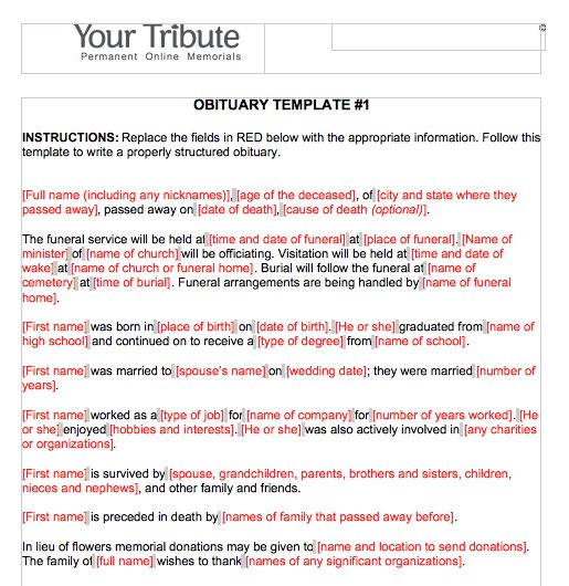 Free Obituary TemplatesWord Pdf Sample  Template Section
