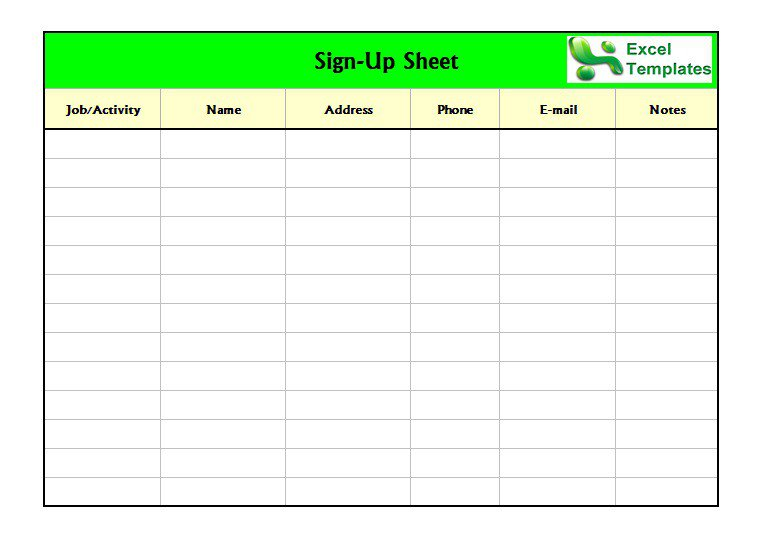 Free SignInSignUp Sheet Templates Excel Word  Template Section