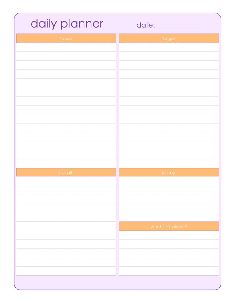 Free Daily Planner Templates-Excel, PDF – Template Section