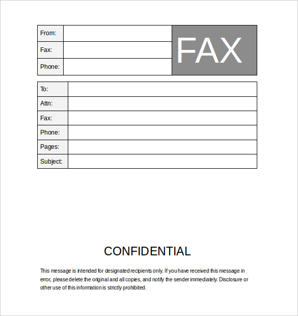 cover letter for fax template