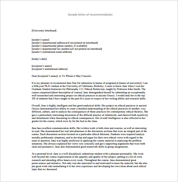 Recommendation Letter Templates Free Sample Format Template - Sample letter of recommendation template free