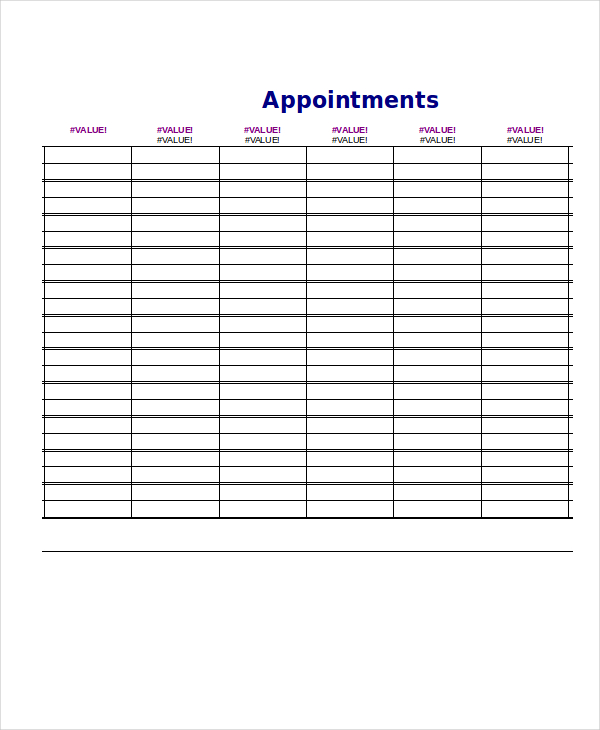 appointments schedule template