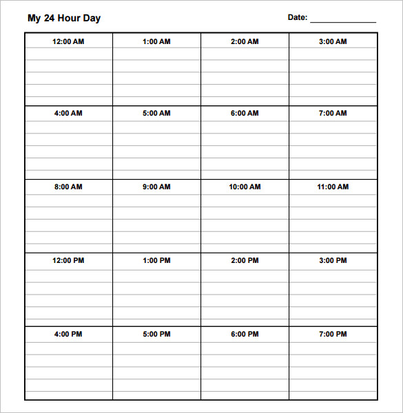 10 daily schedule templates printable excel word pdf for Activity timetable template