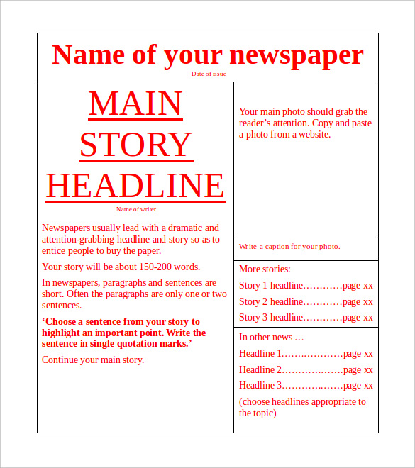 Free Newspaper Template 10 Blank Google Docs Word Template Section