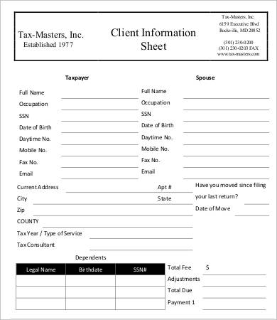 Client Information Sheet Templates   Blank Samples  Template Section