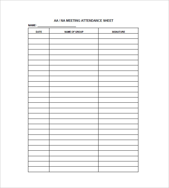 Attendance Sheet Template   Free Word Excel Pdf Samples