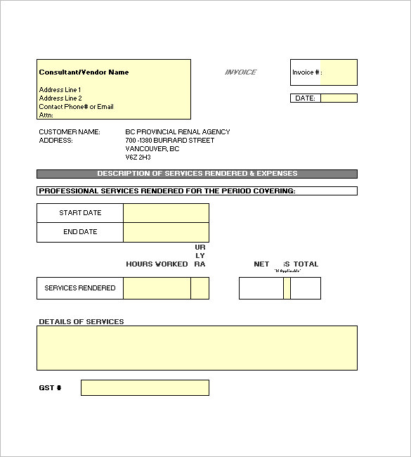 Contractor Invoice Templates 10 Free Excel Word Pdf Template