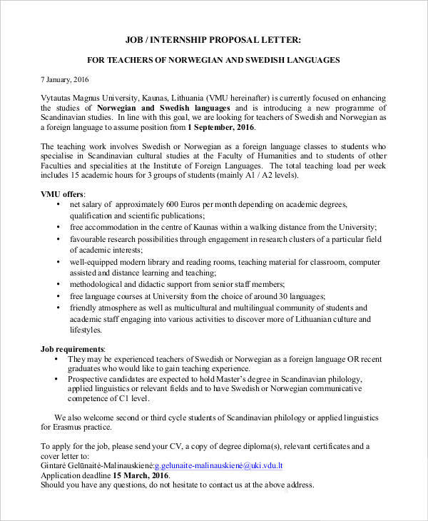 Job Internship Proposal Template  Proposal Of Work Template