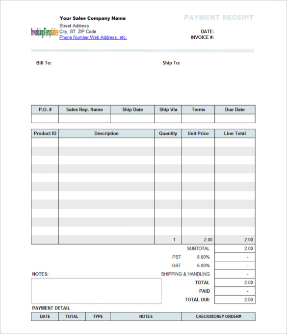 Payment Receipt Template   Free Word Excel  Template Section