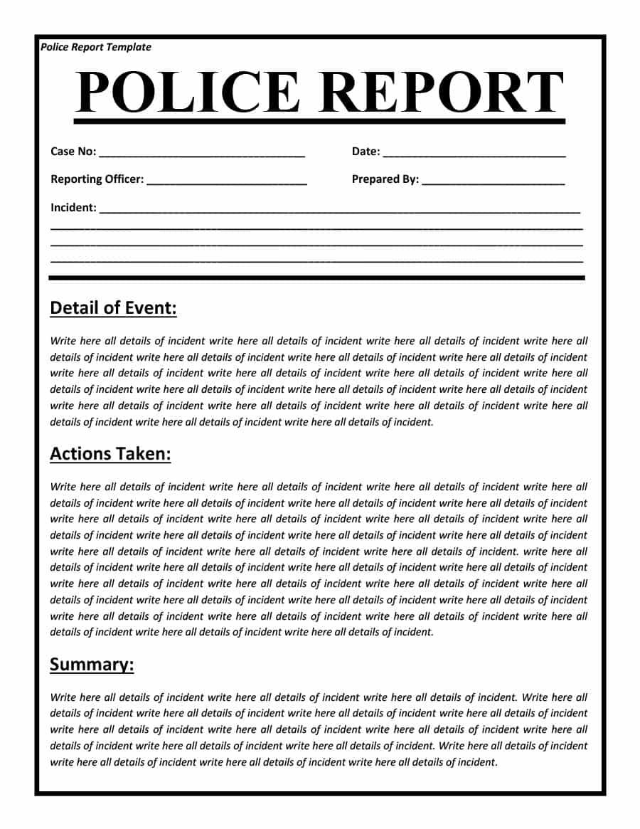police report templates 8 free blank samples template section. Black Bedroom Furniture Sets. Home Design Ideas