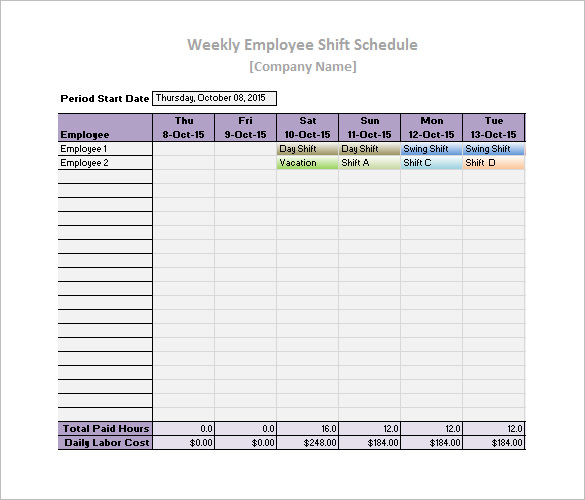 Free Work Schedule Templates - Weekly, Monthly, Daily - Template Section