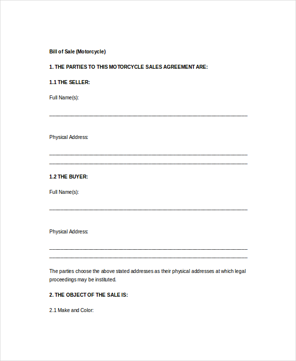 Bill Of Sale Form Template   Free Word Pdf Samples  Template