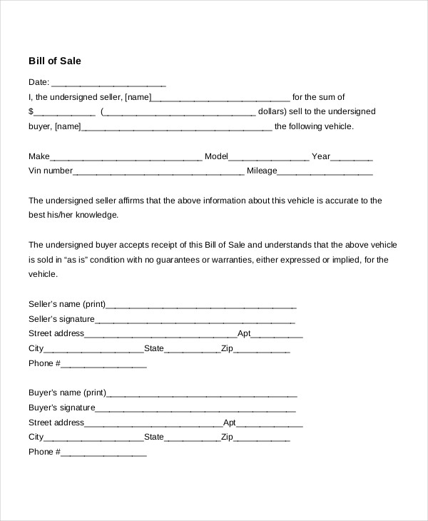 Bill Of Sale Template, Free Bill Of Sale Template, Vehicle Bill Of Sale  Template