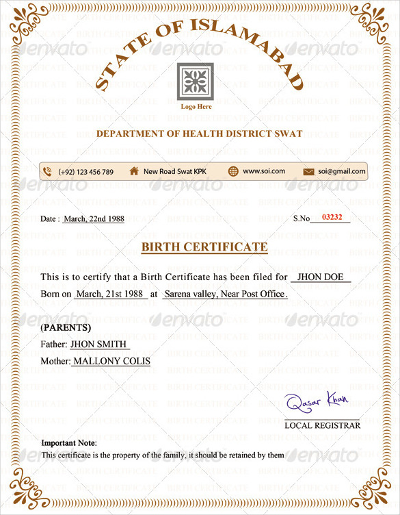 birth certificate template blank birth certificate template simple birth certificate template birth certificate