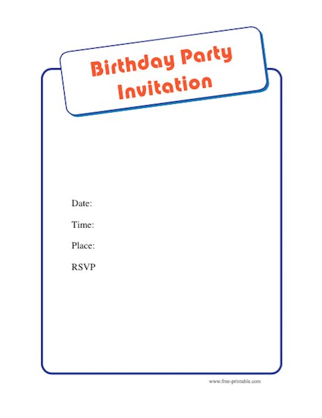 Free Birthday Party Invitation Template  Free Birthday Party Invitation Templates For Word