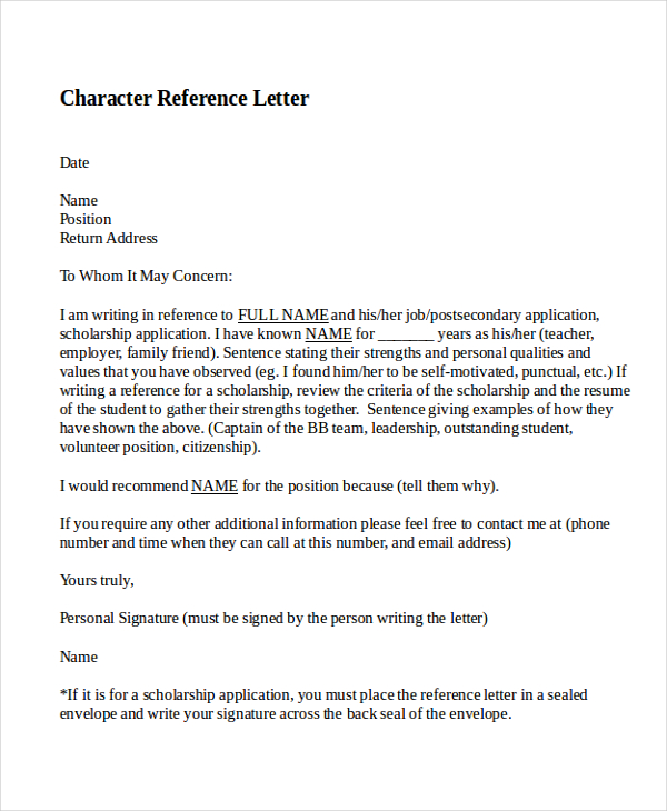 10 best personal character reference letter how to write character reference letter personal character reference letter altavistaventures Images