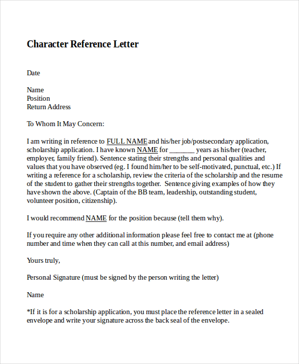 Character Reference Letter, Personal Character Reference Letter