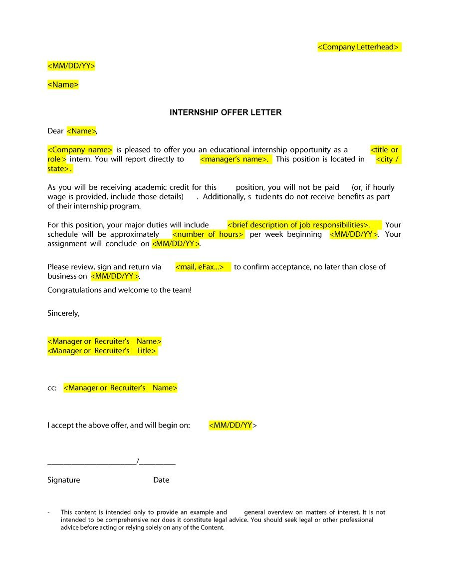example of job offer letter
