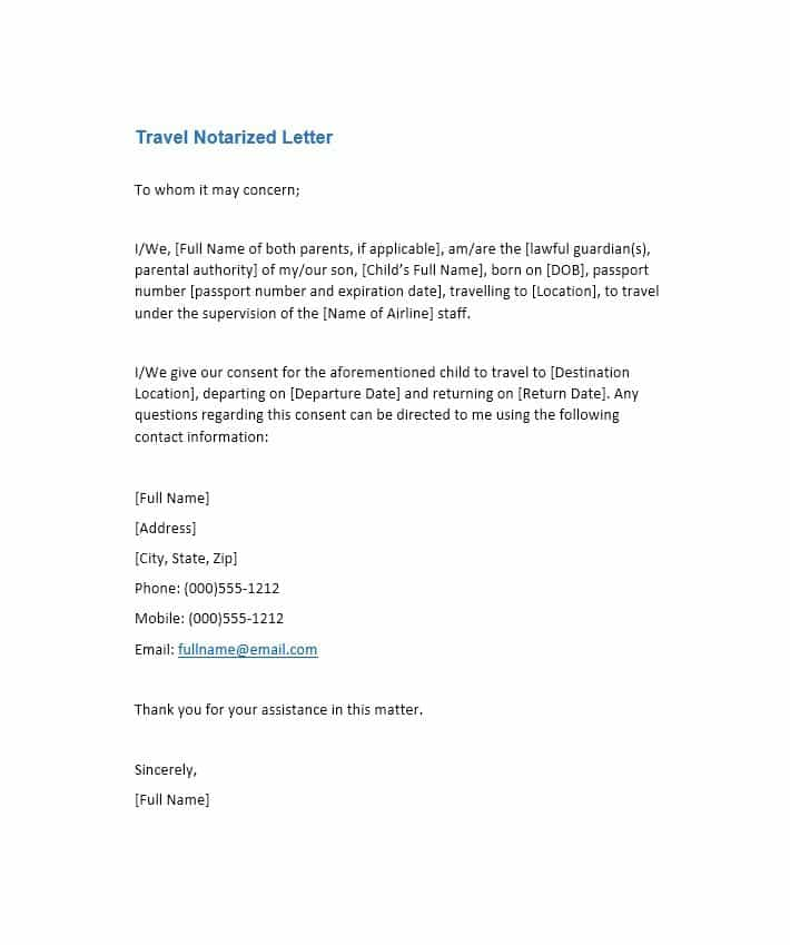 Notarized Letter Template, Travel Notarized Letter Template, Notarized Letter Template for Child, Printable Notarized Letter Template, Notarized Letter Sample