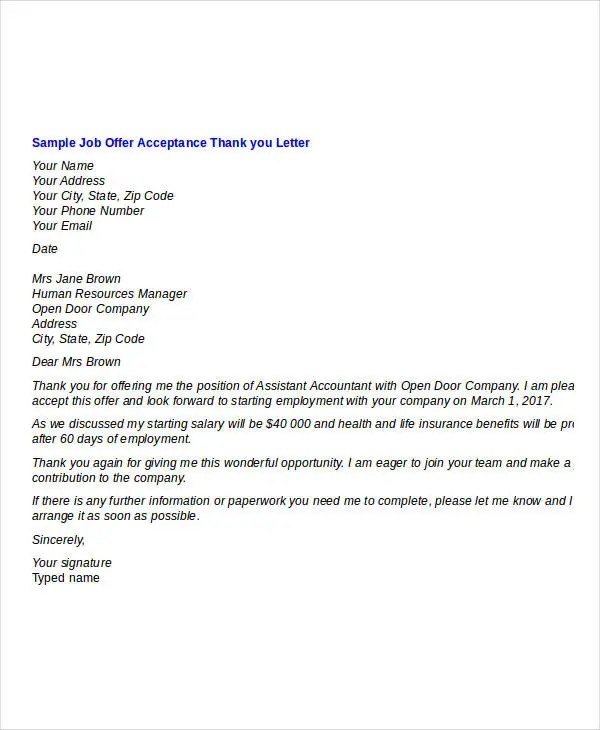 thank you letter for job offer  templates how to write