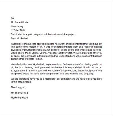 Appreciation Letter For Good Work Of