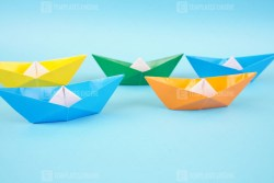 A group of origami boats