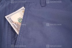 Dollar banknotes in pocket