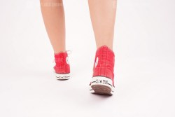 Heels of red converse
