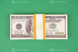 Old Dollar banknotes on green background