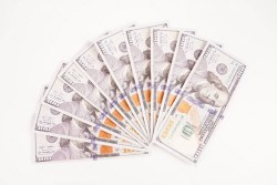 One Thousand Dollars Pile Isolated