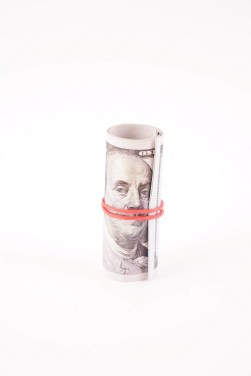 Roll of Dollar Banknotes Isolated