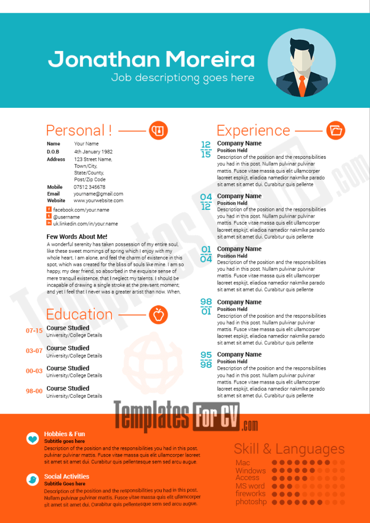 professional resume template preview image