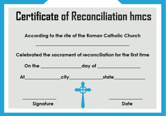 Certificate Of Reconciliation 10 Free Templates