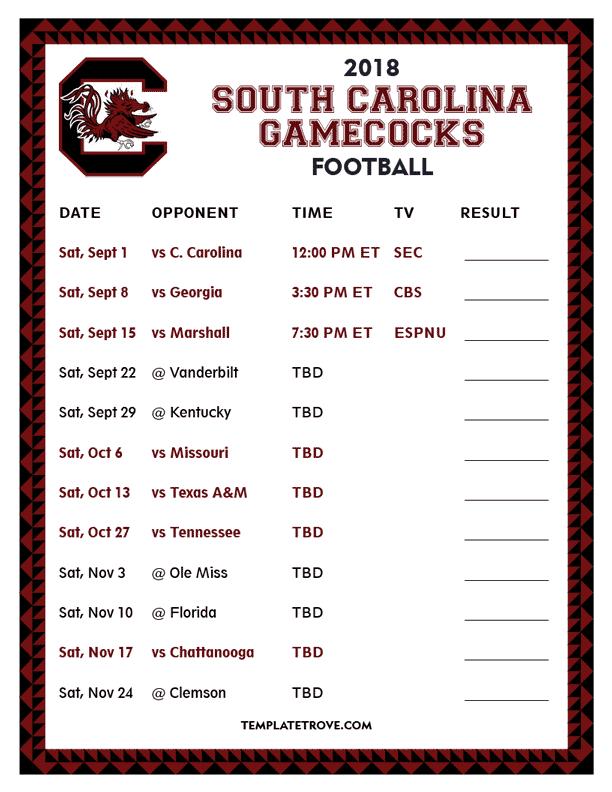 Printable 2018 South Carolina Gamecocks Football Schedule