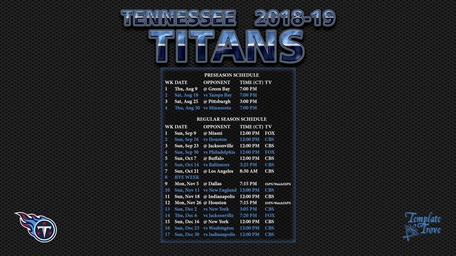 2018 2019 Tennessee Titans Wallpaper Schedule