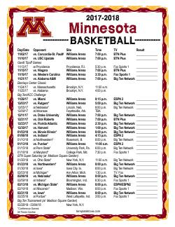 Printable 2017 2018 Minnesota Golden Gophers Basketball Schedule