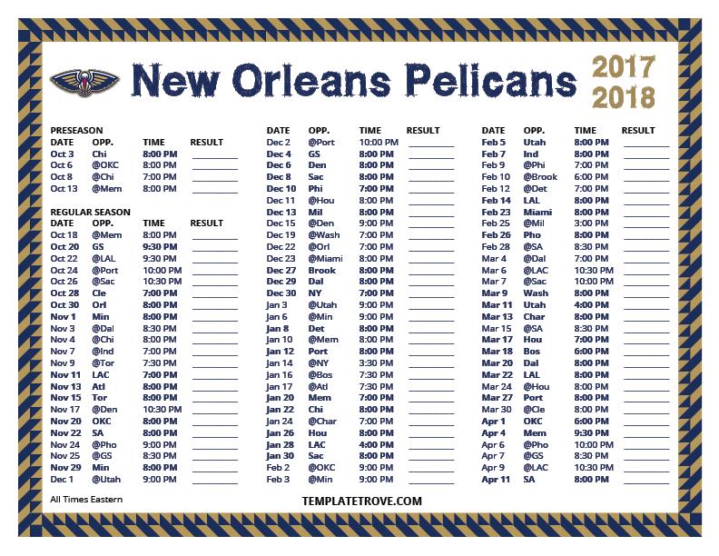 Printable 2017 2018 New Orleans Pelicans Schedule