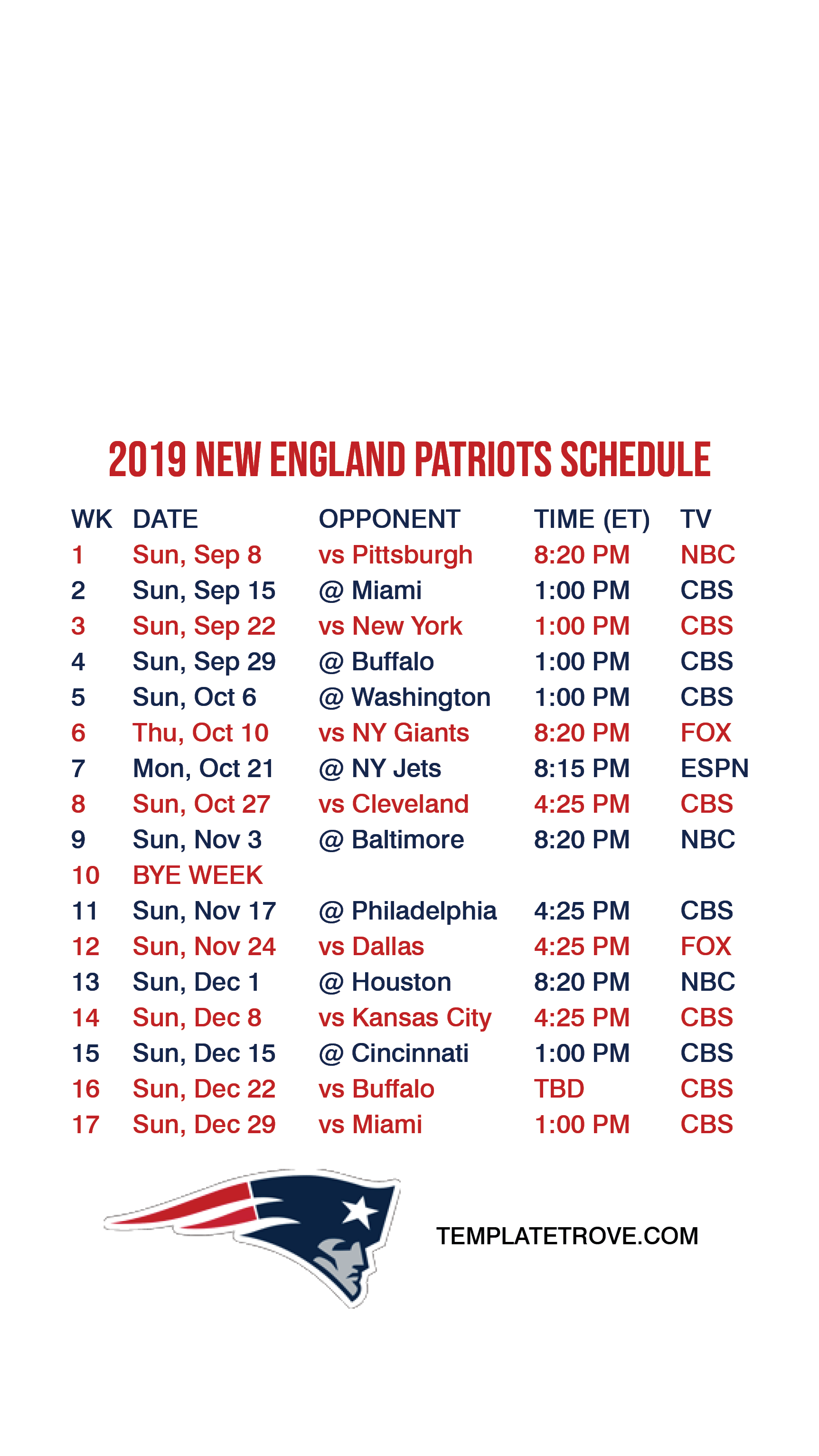 New England Patriots Lock Screen Schedule For