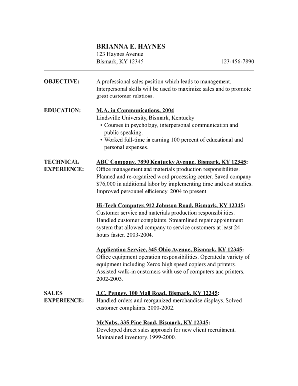 Resume Template Chronological. Chronological Resume Template 13