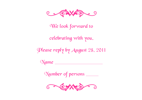Response Card Template 2 Hot Pink