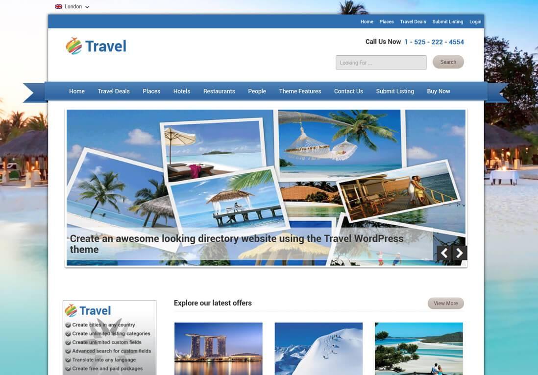 Wordpress Travel Theme Responsive Travel Directory Theme
