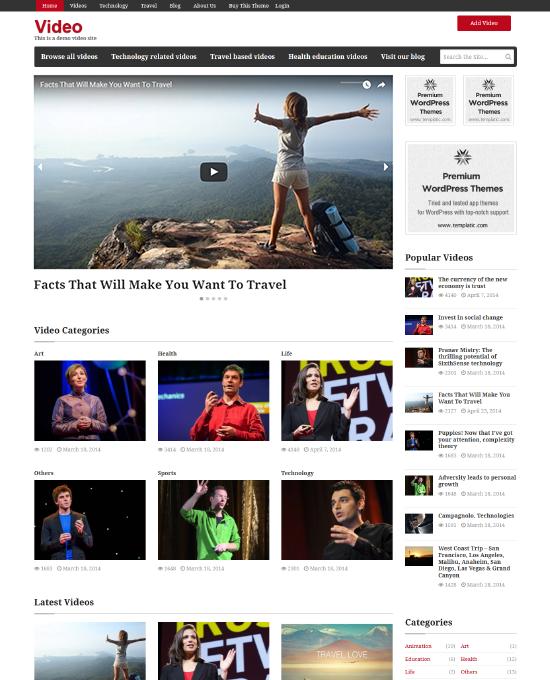 Wordpress Video Theme Website Template Embedded Upload