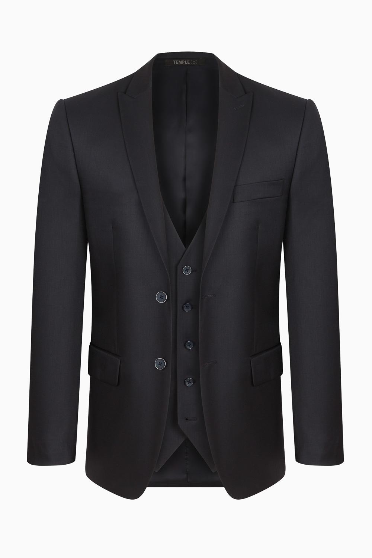 Packshot d'une veste de costume noir sur fond blanc