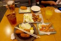 Top Potato. Middle Teriyaki chicken. Bottom fried oysters and shellfish