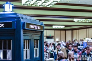 A fullsize volunteer owned TARDIS on display at the end of the Dealers Room.