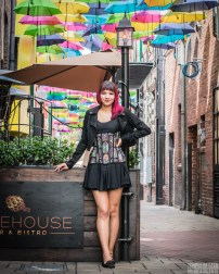 "Styled with Castle Corsetry's ""Perfect Little Dress"" dress and a moto jacket"